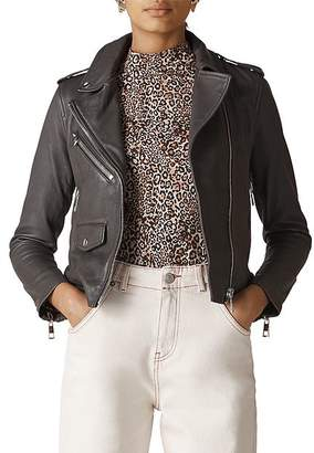 Whistles Agnes Leather Biker Jacket