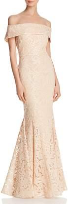Eliza J Off-the-Shoulder Lace Gown