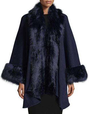 Neiman Marcus Faux-Fur Trimmed Knit Cape