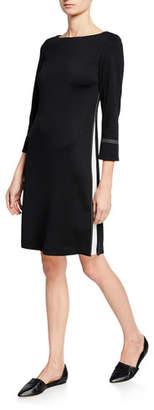 St. John 3/4-Sleeve Milano Knit Dress w/ Topstitch Details & Silk Side Panels