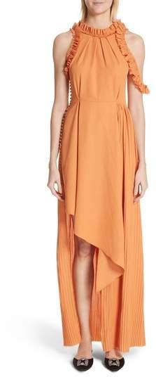 Asymmetrical Ruffle Trim Silk Blend Dress