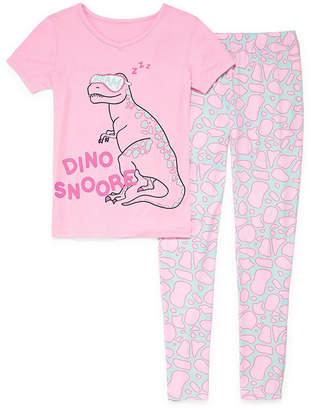 Arizona 2pc Dino Tight Fit Pajama - Girls 4-16