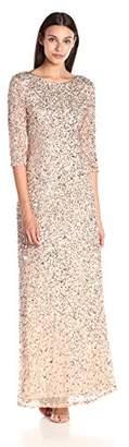 Adrianna Papell Women's 3/4 Sleeve Beaded Mermaid Gown,8
