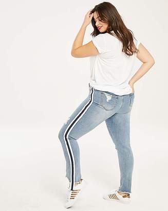 Fashion World Luna Side Stripe Distressed Slim Jeans