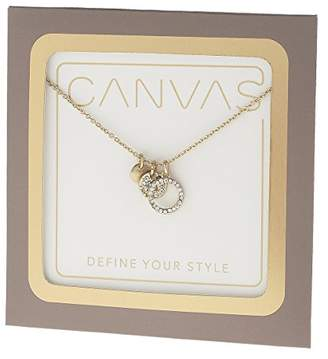 "Canvas Womens Tone Delicate Circle Pave 16"" Adjustable Charm Necklace"