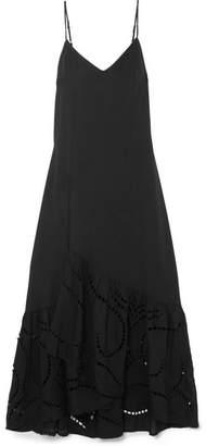 Vix Elma Broderie Anglaise-paneled Voile Maxi Dress - Black