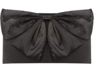 Jane Norman Black Satin Bow Clutch