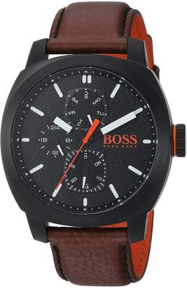 HUGO BOSS Men's 1550028 Casual 46mm/ Multi/ 5atm/ Cushion Ip Case/ Brown Leather Strap Watch