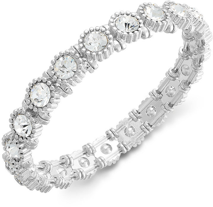 Charter Club Silver-Tone Crystal Stretch Bracelet