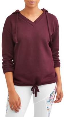 Athletic Works Women's V-Neck Pullover Fleece Hoodie