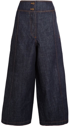 KENZO - Cropped High-rise Wide-leg Jeans - Dark denim $400 thestylecure.com