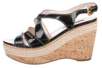 Prada Sport Patent Leather Platform Wedges