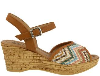 Spring Step Leather and Textile Wedge Sandals -Allenisa