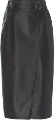 Akris High-Waisted Wrap-Effect Leather Skirt Size: 2