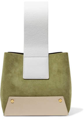 Yuzefi - Tab Small Color-block Textured-leather And Suede Tote - Army green