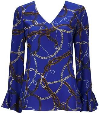 Wallis Petite Blue Chain Print V-Neck Top