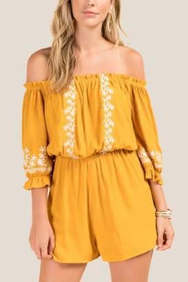 francesca's Shae Off-The-Shoulder Embroidered Romper - Marigold