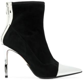 Balmain metallic contrast ankle boots