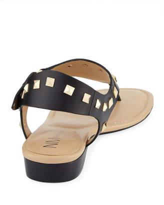 Neiman Marcus Yolene Studded Calf Sandals, Black/Gold
