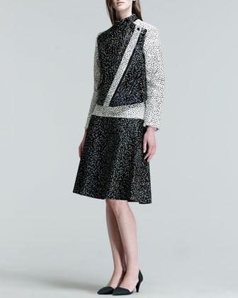 Proenza Schouler Drop-Waist Squiggle-Print Calf Hair Skirt