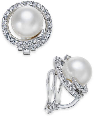 Macy's Danori Silver-Tone Imitation Pearl Pavé Clip-On Stud Earrings, Created for