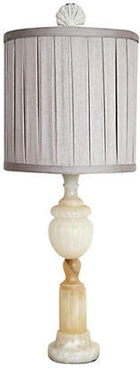 One Kings Lane Vintage Alabaster Table Lamp with Silver Shade - Fleur de Lex Antiques