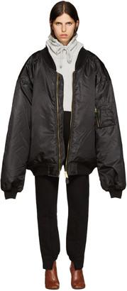 Vetements Black Oversized Bomber Jacket $1,985 thestylecure.com