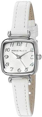 Anne Klein (アン クライン) - Anne Klein Women 's AK / 2385svwt Easy to Readシルバートーンとホワイトレザーストラップウォッチ