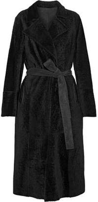 Yves Salomon Reversible Belted Suede And Shearling Coat