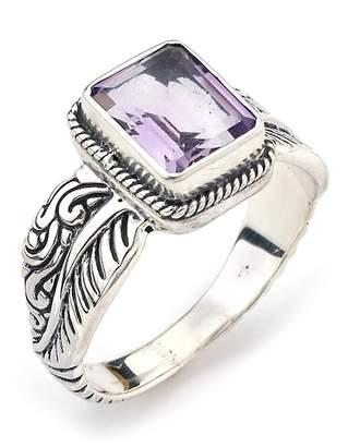 Samuel B Jewelry Sterling Silver Emerald Cut Purple Amethyst Ring