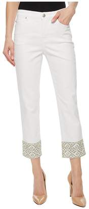 Tribal Soft Touch Denim 25 Capris w/ Embroidered Detail Women's Capri