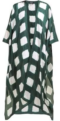 eskandar Square Shibori Dyed Silk Kimono Style Jacket - Womens - Green White