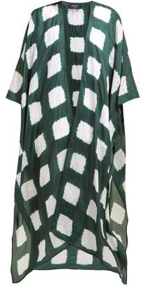eskandar Square Shibori Dyed Silk Kimono - Womens - Green White