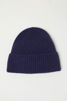 H&M Ribbed Cashmere Hat - Blue