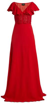 Giambattista Valli Cape-back V-neck crepe-cady gown