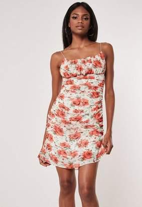 Missguided Orange Floral Ruched Side Mini Dress