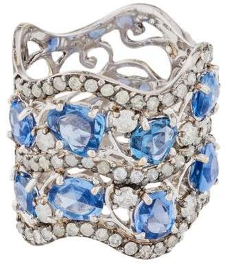 Shawn Warren 18K Sapphire & Diamond Wave Ring