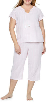 Liz Claiborne Womens Capri Pajama Set 2-pc. Short Sleeve Y-Neck