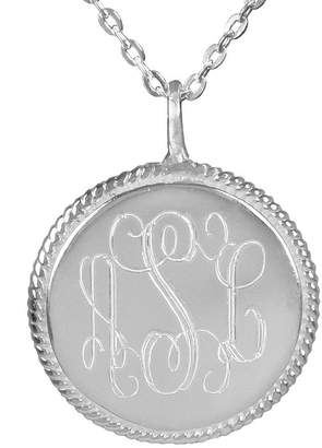 Personalized Monogram Sterling Rope Accent Pendant w/ Chain