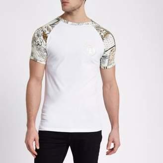 River Island White muscle fit baroque print raglan T-shirt