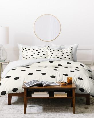 Deny Designs Garima Dhawan Vintage Dots Black Duvet Cover Set