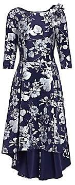 Teri Jon by Rickie Freeman Women's Printed Scuba High-Low A-Line Dress