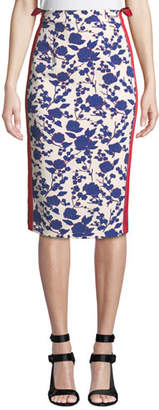 Pinko High-Rise Floral Side-Stripe Pencil Skirt