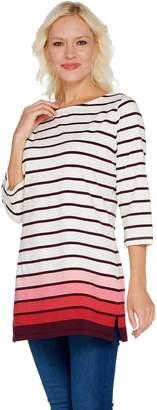 Denim & Co. Regular Perfect Jersey Ombre Stripe 3/4 Sleeve Tunic