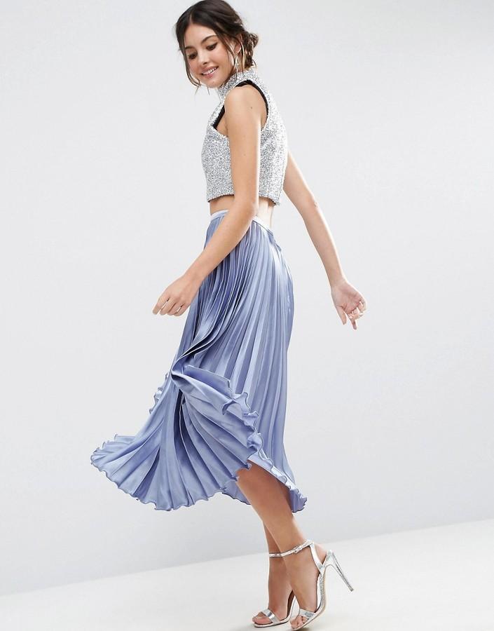 AsosASOS Midi Skirt in Pleated Satin