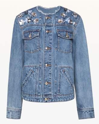 Juicy Couture Floral Embellished Denim Jacket
