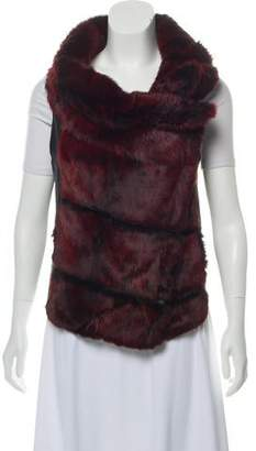 Helmut Lang Fur-Accented Leather Vest