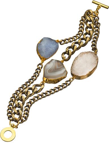 Janna Conner Designs Gold Agate and Druzy Mireille Bracelet