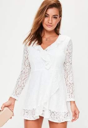 Missguided White Lace Ruffle Tea Dress