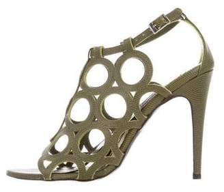 Andrew Gn Embossed Cage Sandals